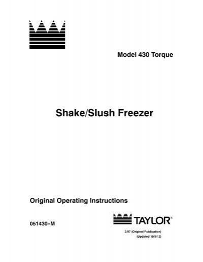 xr216 slush freezer opperating instructions