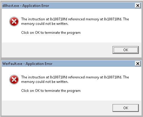 dllhost exe the instruction at referenced memory at