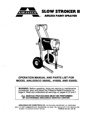 airlessco lp460 electric airless sprayer instructions
