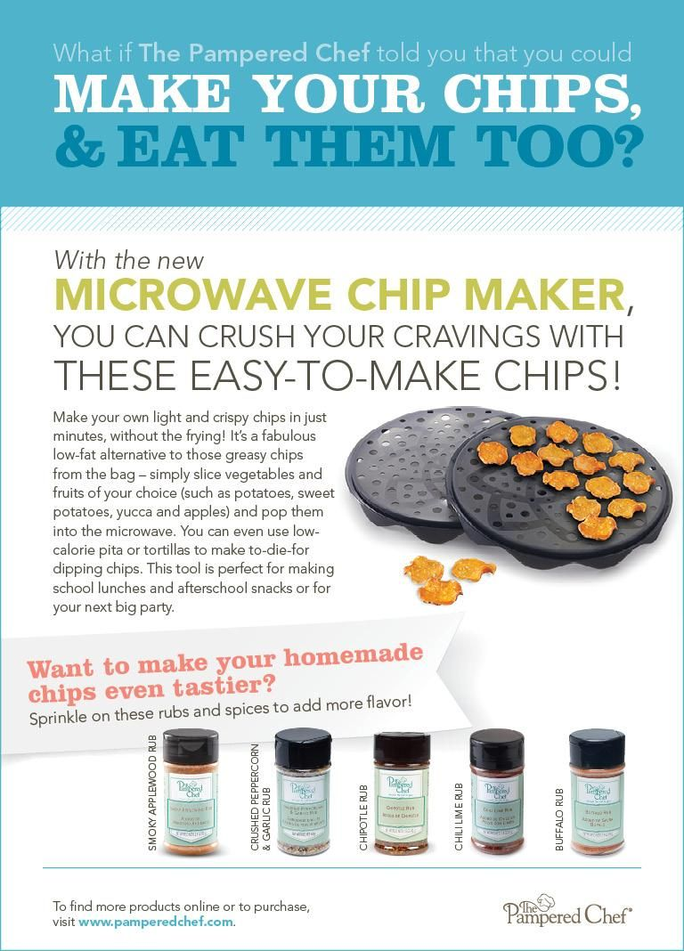 pampered chef microwave potato chip maker instructions