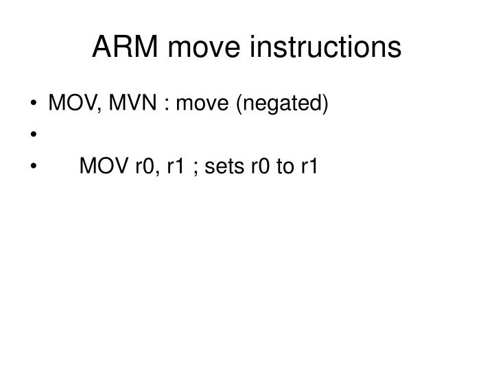 mvn instruction in arm